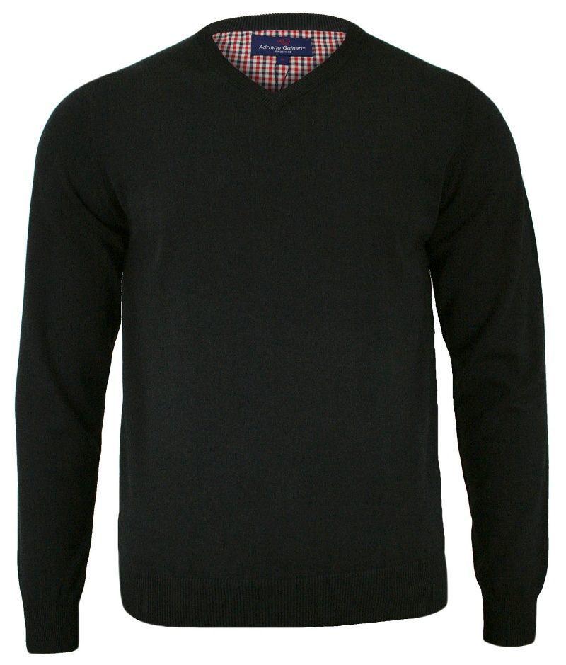 Sweter Czarny, Elegancki, Dekolt w Serek, Męski, Bawełniany (V-neck) - Adriano Guinari SWADGAW18blackV