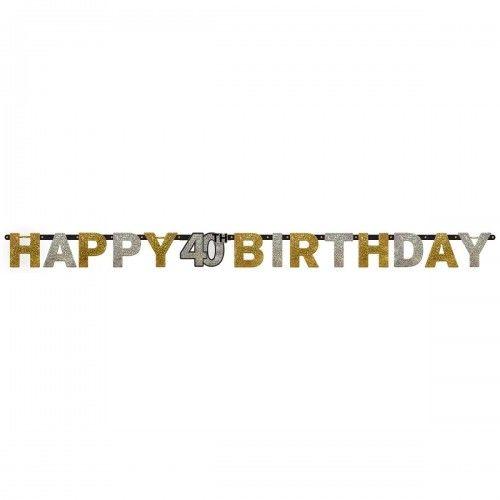 Baner na 40 urodziny złoty&srebrny Sparkling Celebration
