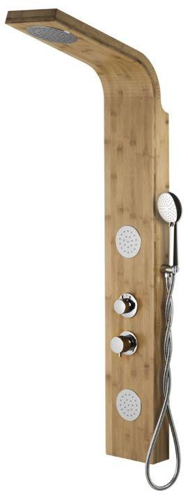 Corsan Bali panel prysznicowy z mieszaczem chrom drewno bambusowe B-231MCR