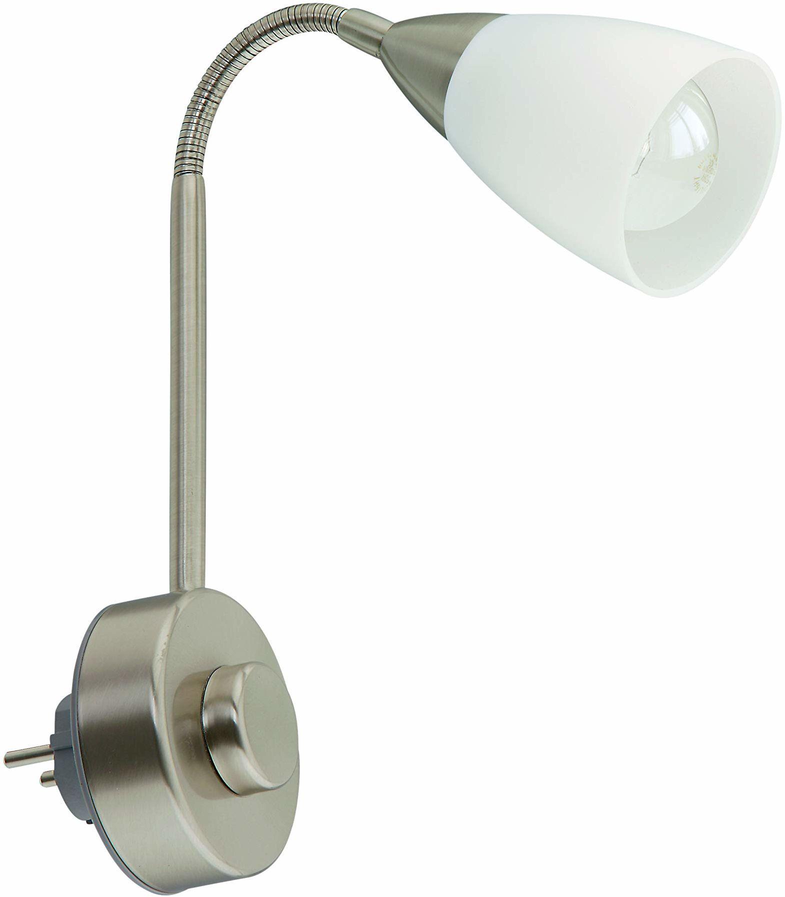 Briloner Leuchten lampa wtykowa elastyczne ramię, lampa wtykowa E14, lampa do czytania 25 W, w zestawie ściemniacz obrotowy, matowy nikiel biały, metal, 25 W