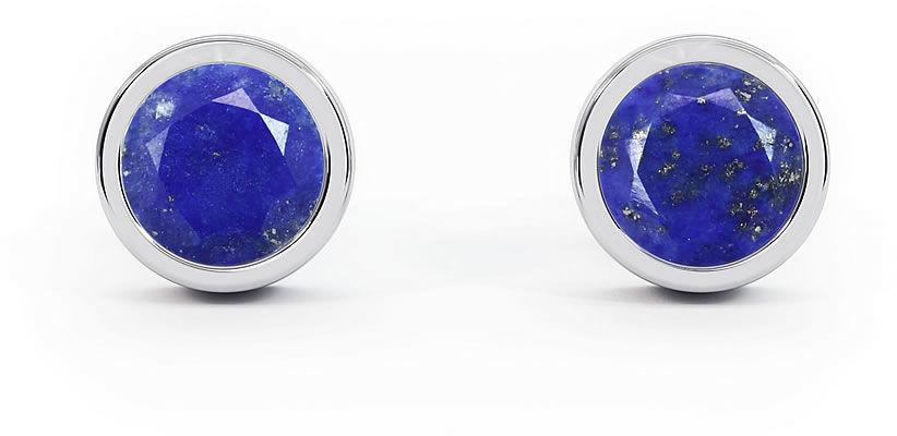 Kuźnia Srebra - Kolczyki srebrne sztyft, 15mm, Lapis Lazuli, 3g, model