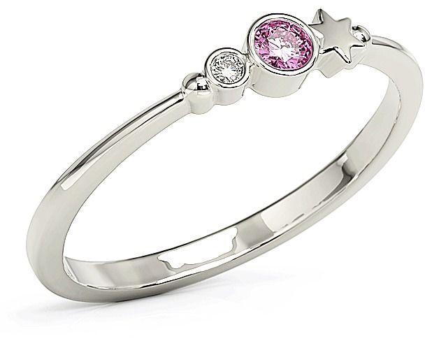 Pierścionek z białego złota z cyrkoniami swarovski różowy bp-6709b-c/pink