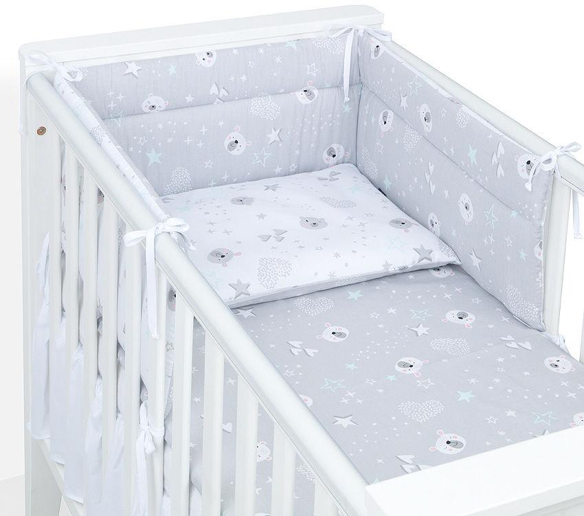 MAMO-TATO Ochraniacz do łóżeczka 70x140 Miśki szare / miśki na szarym