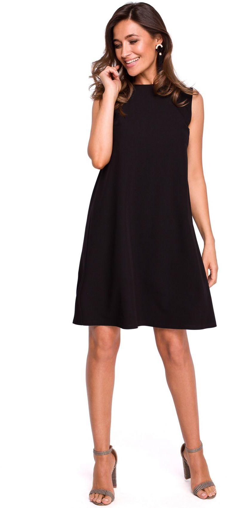 S157 Sukienka trapezowa z dekoltem z tyłu - czarna