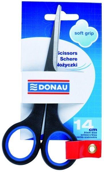 Nożyczki DONAU SOFT GRIP 14 cm czarno - niebieskie - X07373