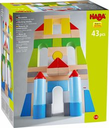 HABA 305162  klocki  duże opakowanie podstawowe, kolorowe, z 43 kamieniami w różnych kolorach i kształtach, zabawka motoryczna z drewna, dla projektantów drzewa w wieku od 1 do 8 lat