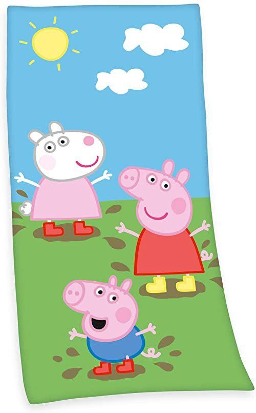 Herding Peppa Pig chusta welurowa, bawełna, wielokolorowa, 75 x 150 cm