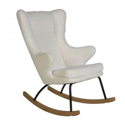 Fotel bujany QUAX dla dorosłych De Luxe baranek ecru