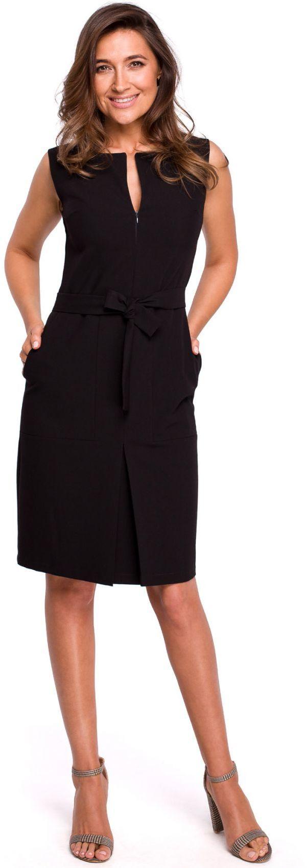 S158 Sukienka z kontrafałdą i kieszeniami - czarna
