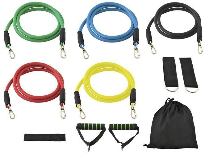 Wielozadaniowy zestaw tubingów do ćwiczeń i rehabilitacji - zestaw 5 gum oporowych o wysokiej sprężystości + zróżnicowane uchwyty - efektywny trening