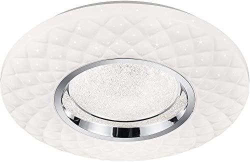 Reality Leuchten lampa sufitowa LED Magnolia R62720101, klosz akrylowy, biały, efekt kryształowy, Starlight, w zestawie 22 W, z pilotem zdalnego sterowania