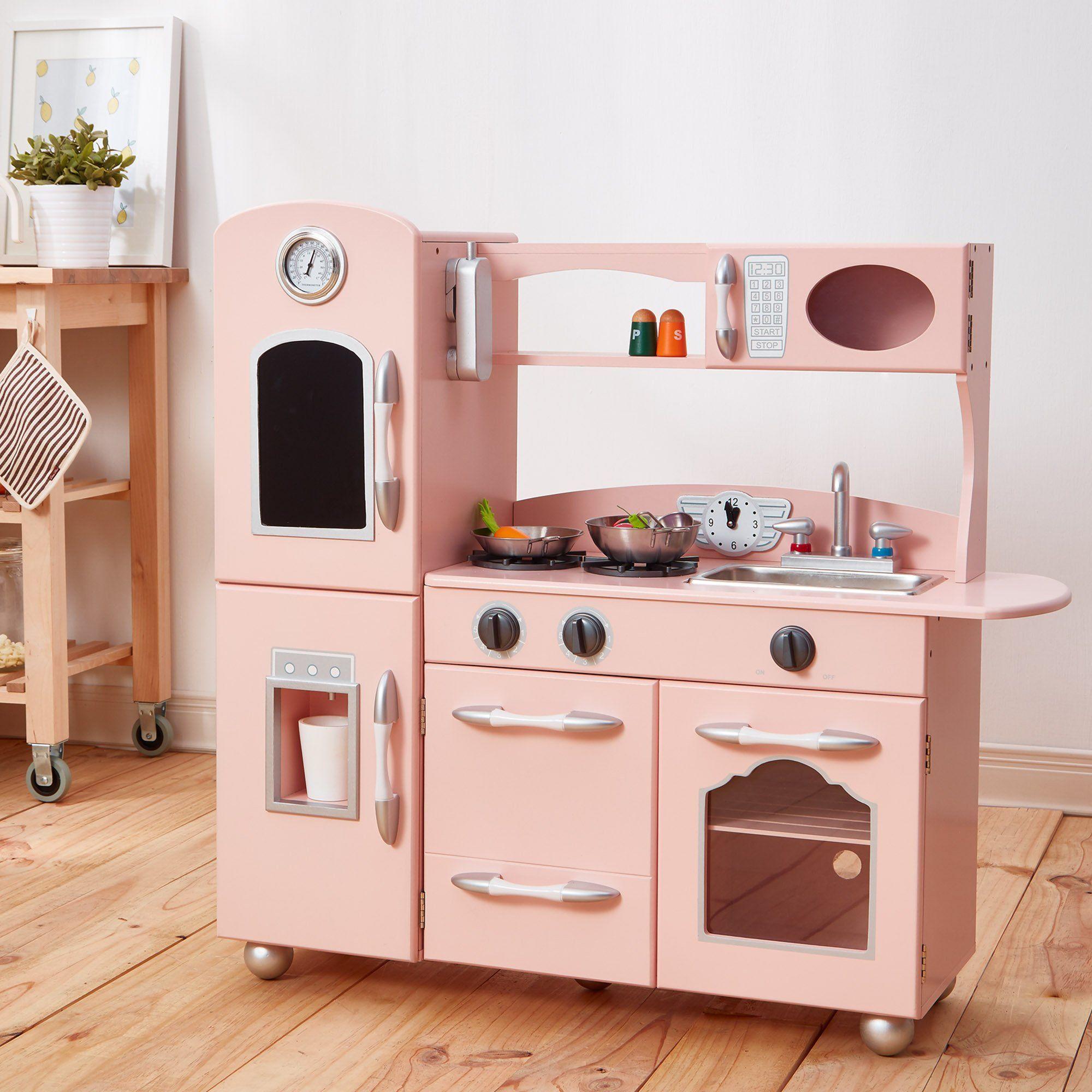 Teamson Kids Różowa kuchnia dla dzieci, kuchnia do zabawy, kuchnia drewniana TD-11414P