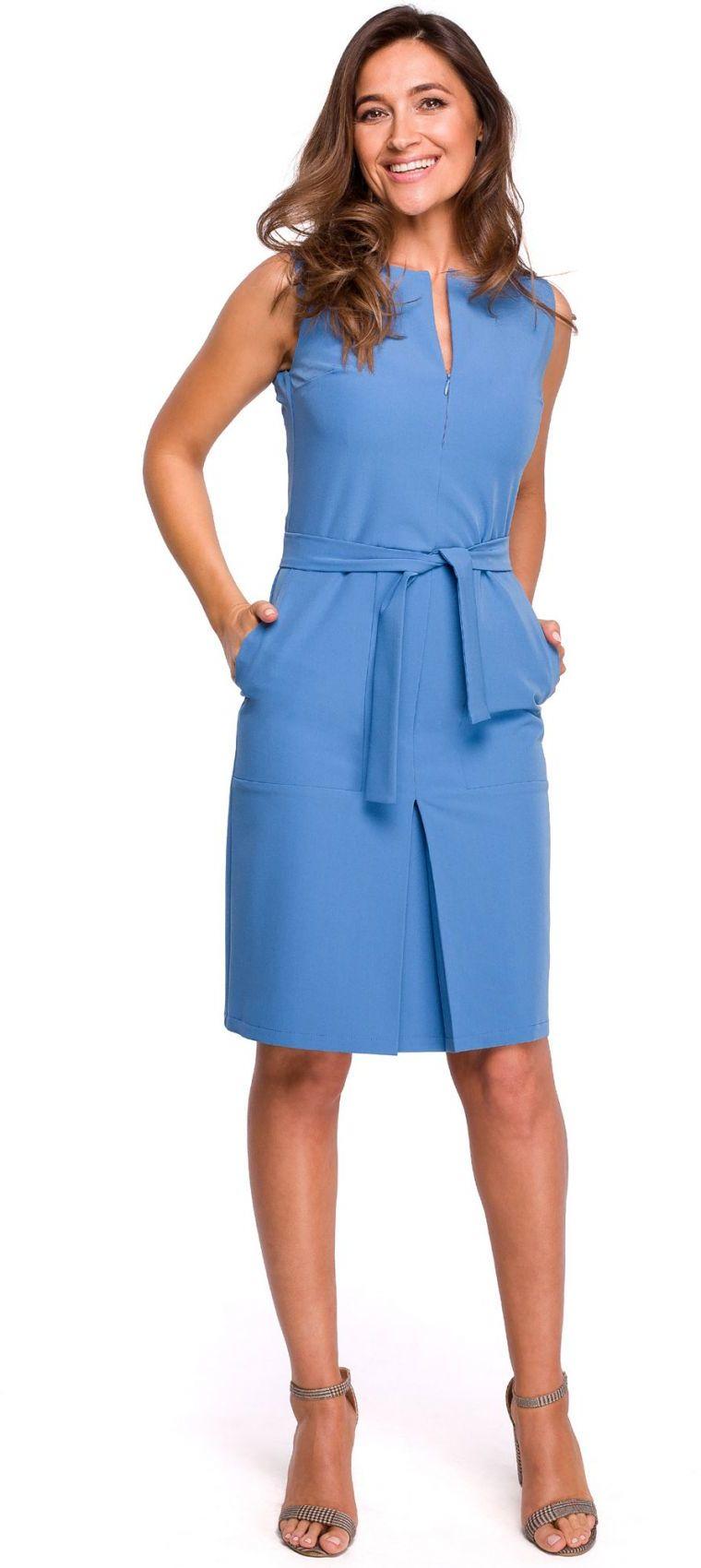 S158 Sukienka z kontrafałdą i kieszeniami - niebieska
