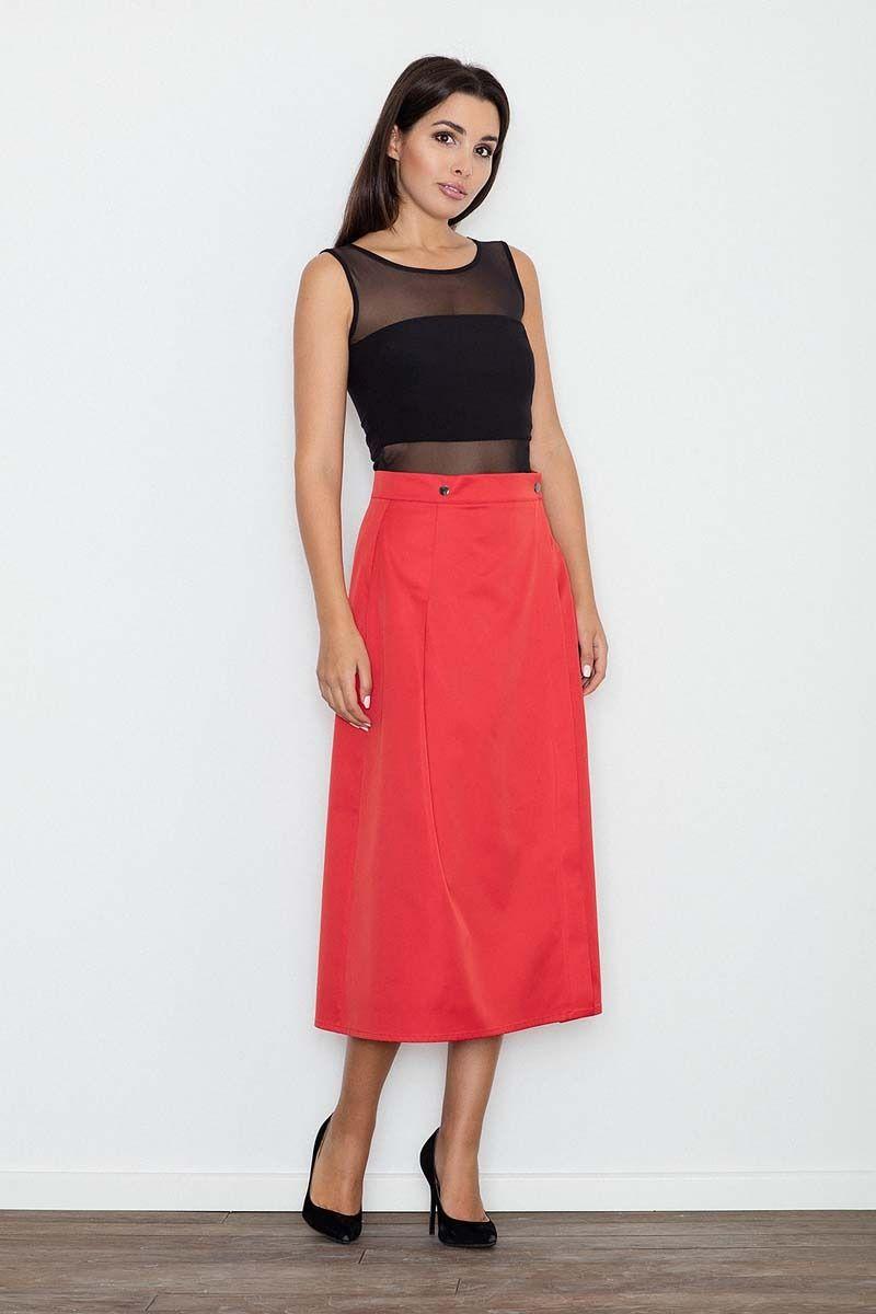 Czerwona spódnica trapezowa midi z kieszeniami