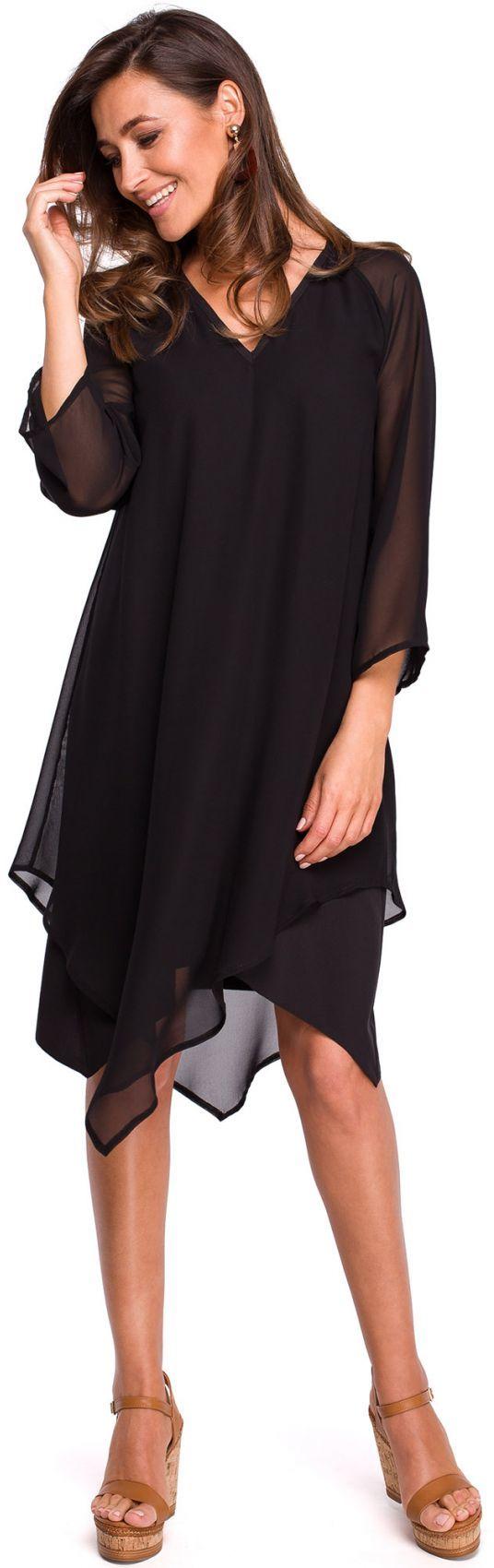 S159 Sukienka szyfonowa z asymetrycznym dołem - czarna