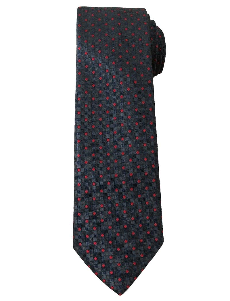 Stylowy Krawat Męski w Drobne Kwadraciki - 6 cm - Angelo di Monti, Granatowy KRADM1264
