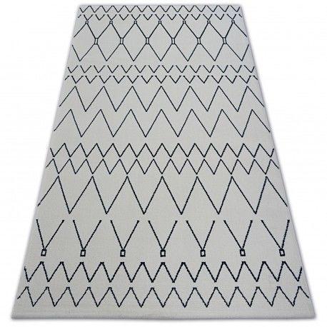 Dywan SENSE Micro 81249 ZYGZAK ETNO biały/niebieski 80x150 cm