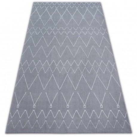 Dywan SENSE Micro 81249 ZYGZAK ETNO srebrny/biały 80x150 cm