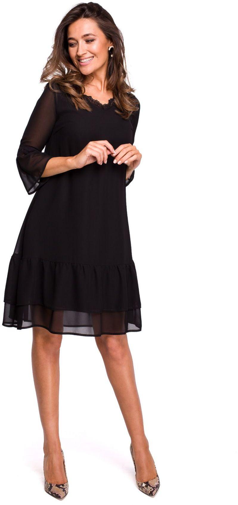 S160 Sukienka szyfonowa z falbanami - czarna
