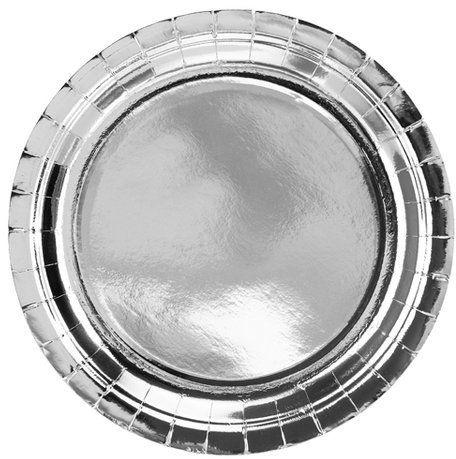 Talerzyki papierowe srebrne metalizowane 23cm 6 sztuk TPP36-018ME