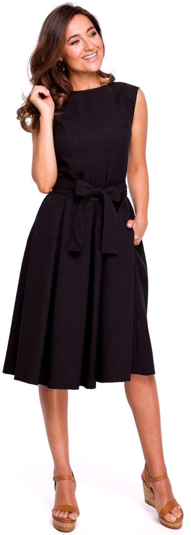S161 Sukienka w kontrafałdy - czarna