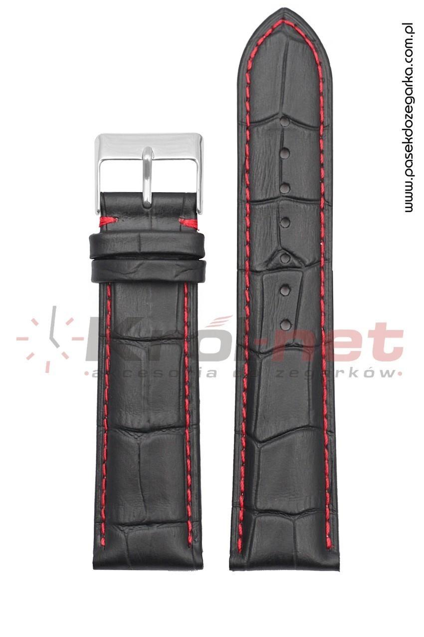 Pasek Tekla TK110/CZ/24XL - czarny, faktura krokodyla, long