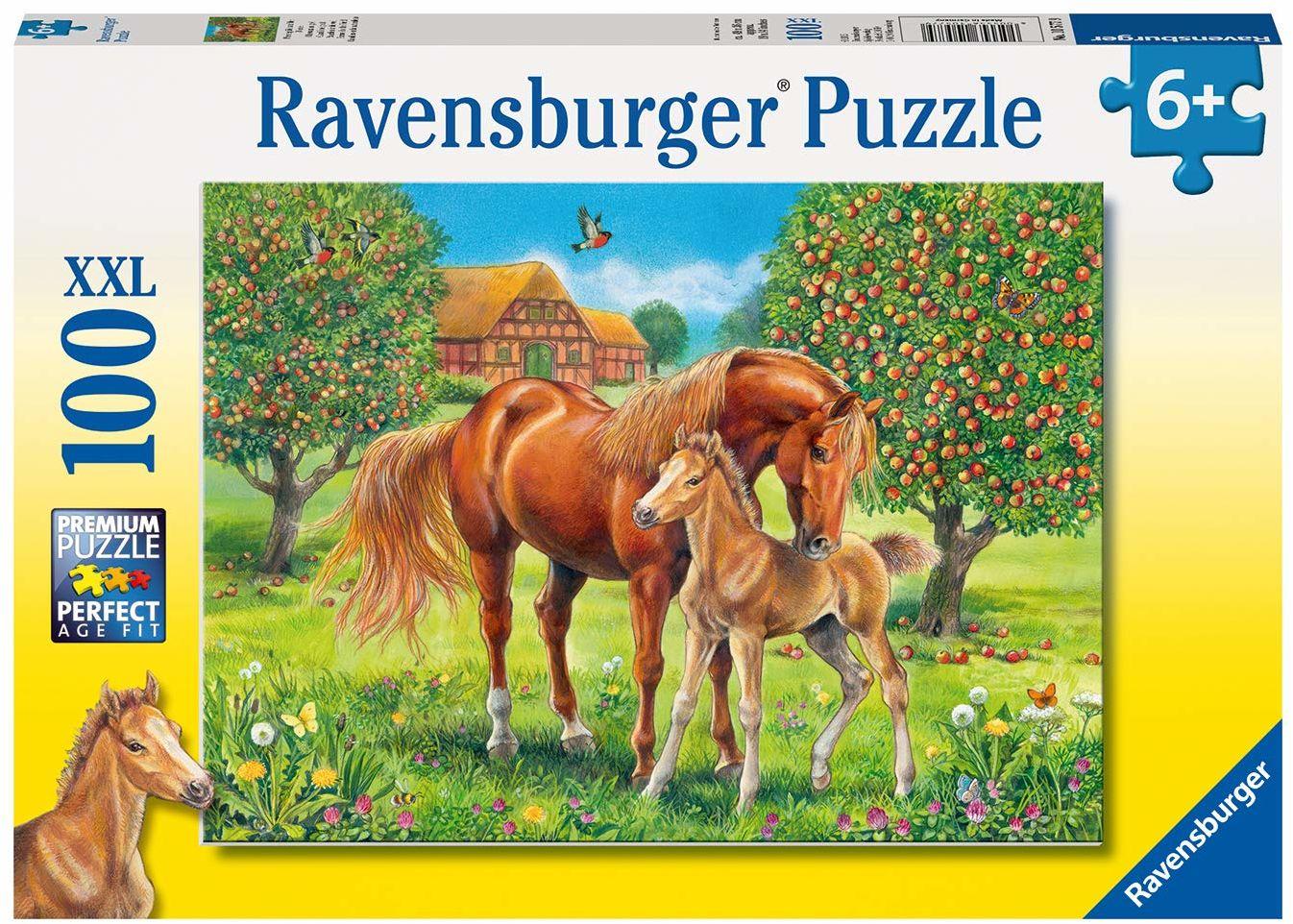 "Ravensburger 10577 9 Puzzle""konie na boisku"" (100 sztuk)"