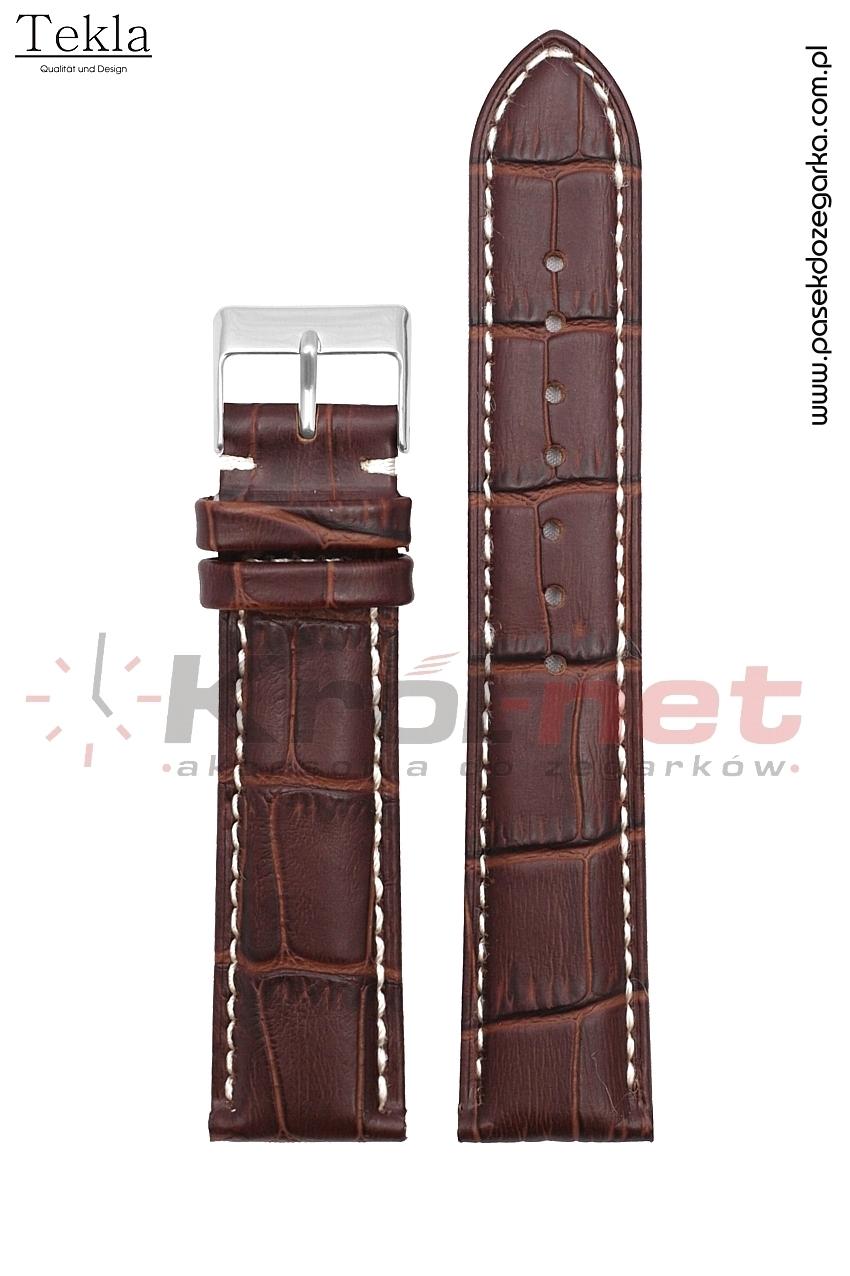 Pasek Tekla TK110BR/B/24 - brązowy, faktura krokodyla