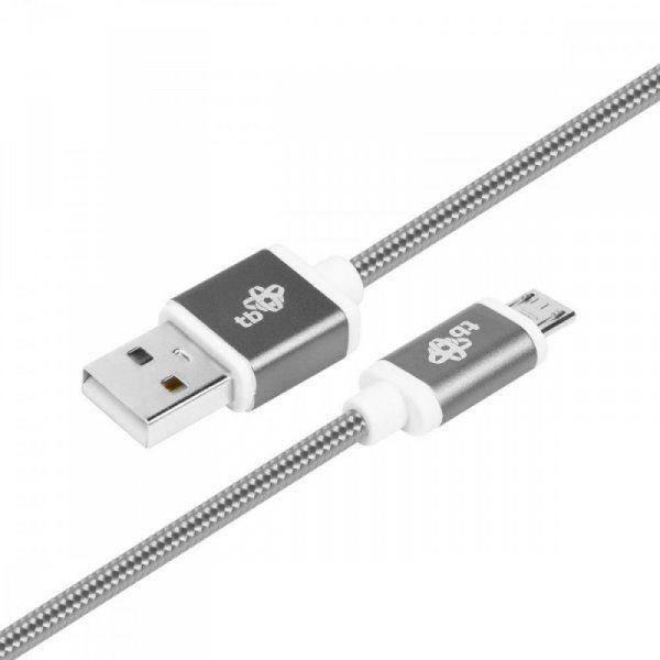 TB Kabel USB-Micro USB 1.5 m grafitowy sznurek