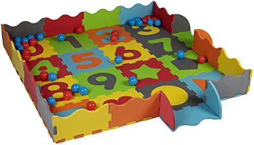 Let''s Play 8711252185309 zestaw do gry 3 w 1: mata do zabawy, puzzle i boksy z pianki gumowej - 40 piłek