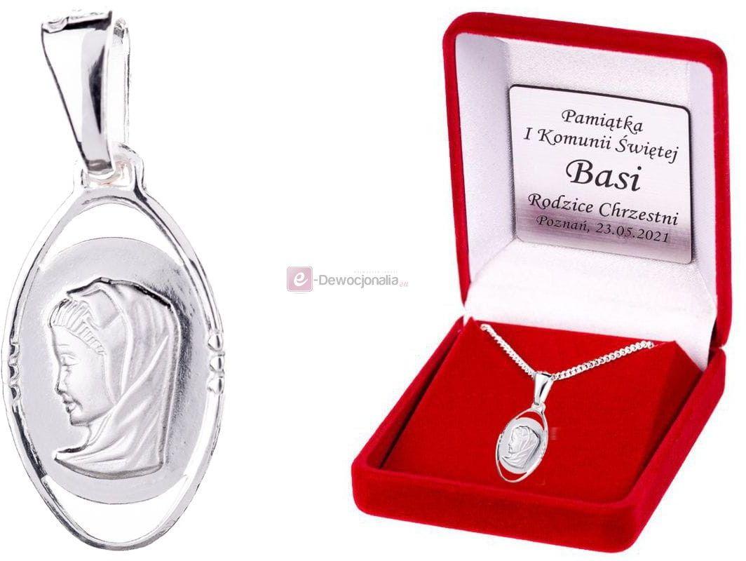 Srebrny medalik MADONNA łańcuszek SREBRO pr. 925 DEDYKACJA - Pamiątka Prezent