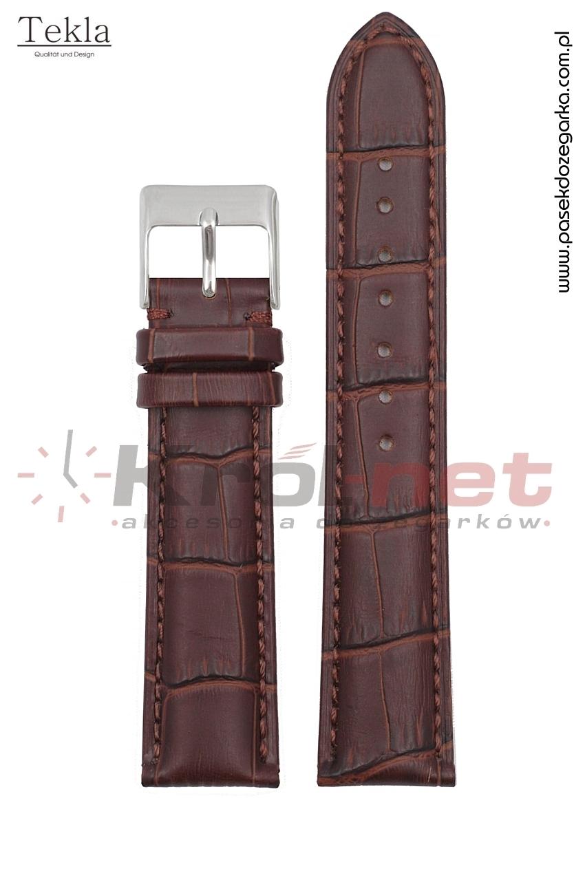Pasek Tekla TK110BR/22XL - brązowy, faktura krokodyla, long