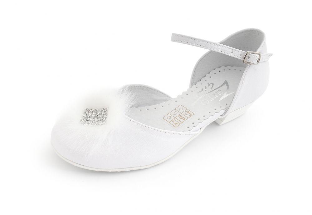 Wizytowe buty na obcasie dla dziewczynki 31-38 BK67 białe