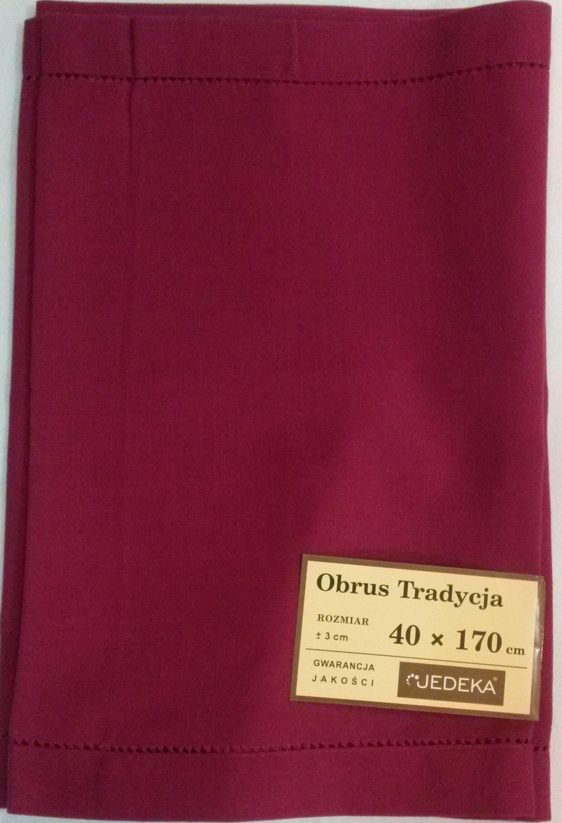 Obrus Tradycja 40x170 z mereżką śliwkowy. Niska cena!!!