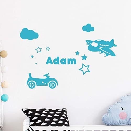 Spersonalizowana naklejka z imieniem, samoprzylepna, możliwość personalizacji, do pokoju dziecięcego, 2 arkusze o wymiarach 20 x 35 cm i 60 x 30 cm, błękitna