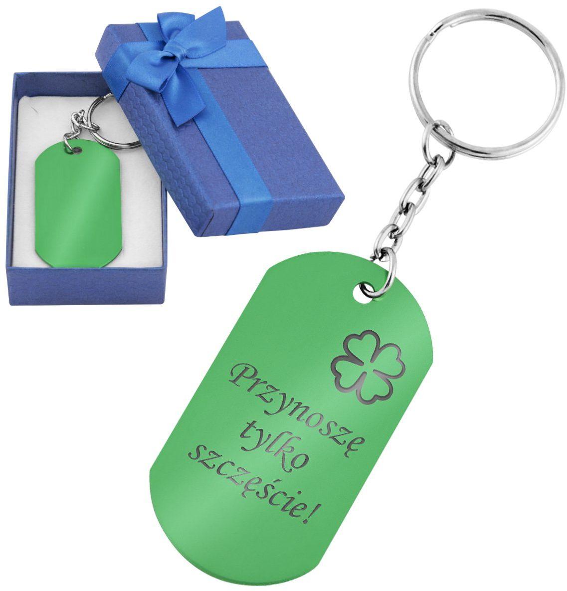 Lekki brelok do kluczy nieśmiertelnik zielony z Grawerem
