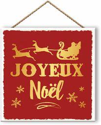 Małe wiadomości zestaw 6 drewnianych paneli Happy Christmas czerwony, 20 x 20 cm
