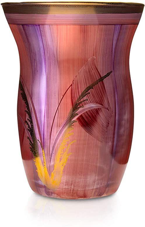 Angela Neue Wiener Werkstätte Wazon MONIKA, Bordeaux szklany wazon pomalowany, pozłacany, szkło, czerwony, średni rozmiar