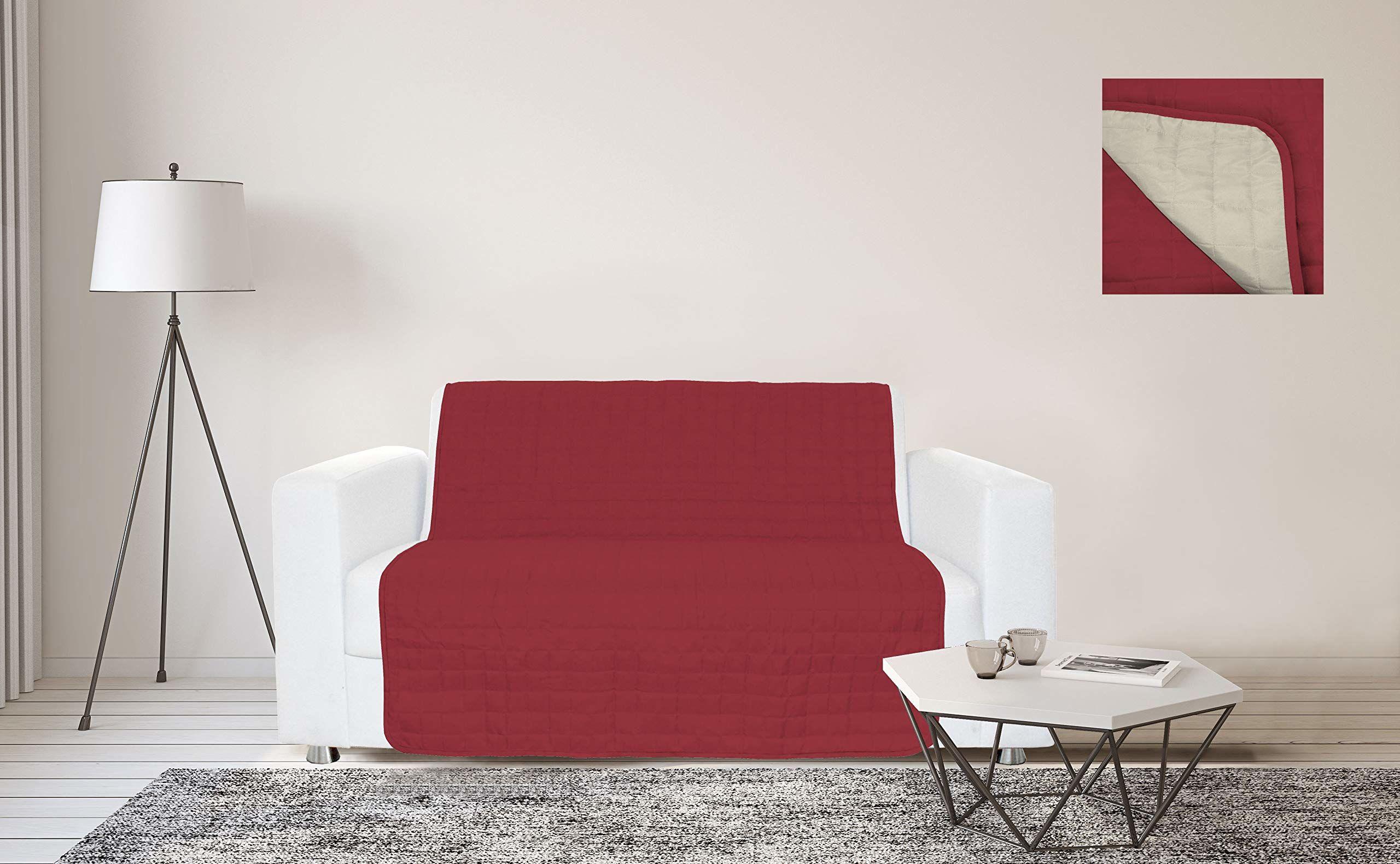 Sogni e Capricci Wodoodporny pasek na sofę, 175 x 190 cm, bordowy/kremowy, 3 miejsca