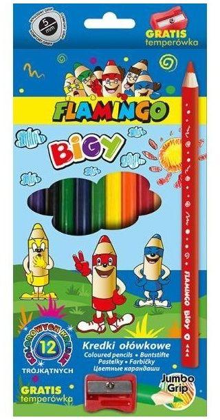 Kredki ołówkowe Jumbo trójkątne 12 kolorów plus temperówka Flamingo 404111