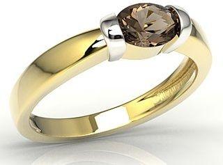 Pierścionek z żółtego i białego złota z kwarcem dymnym ap-67zb-kwa