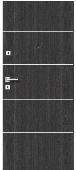 Drzwi wewnątrzklatkowe drewniane Dominos Alu 80 prawe grafitowe