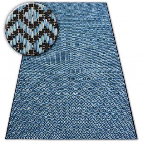 Dywan SZNURKOWY SIZAL LOFT 21144 ROMBY ZYGZAK niebieski/czarny/srebrny 60x110 cm