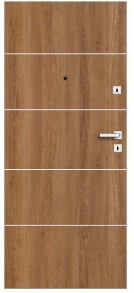 Drzwi wewnątrzklatkowe drewniane Dominos Alu 80 lewe dąb Bergen