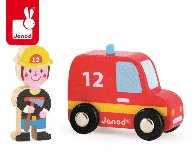 Wóz strażacki ze strażakiem zestaw drewniany