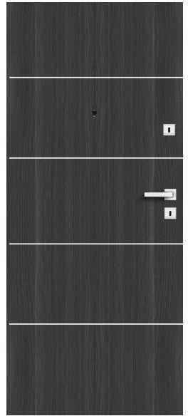 Drzwi wewnątrzklatkowe drewniane Dominos Alu 80 lewe grafitowe