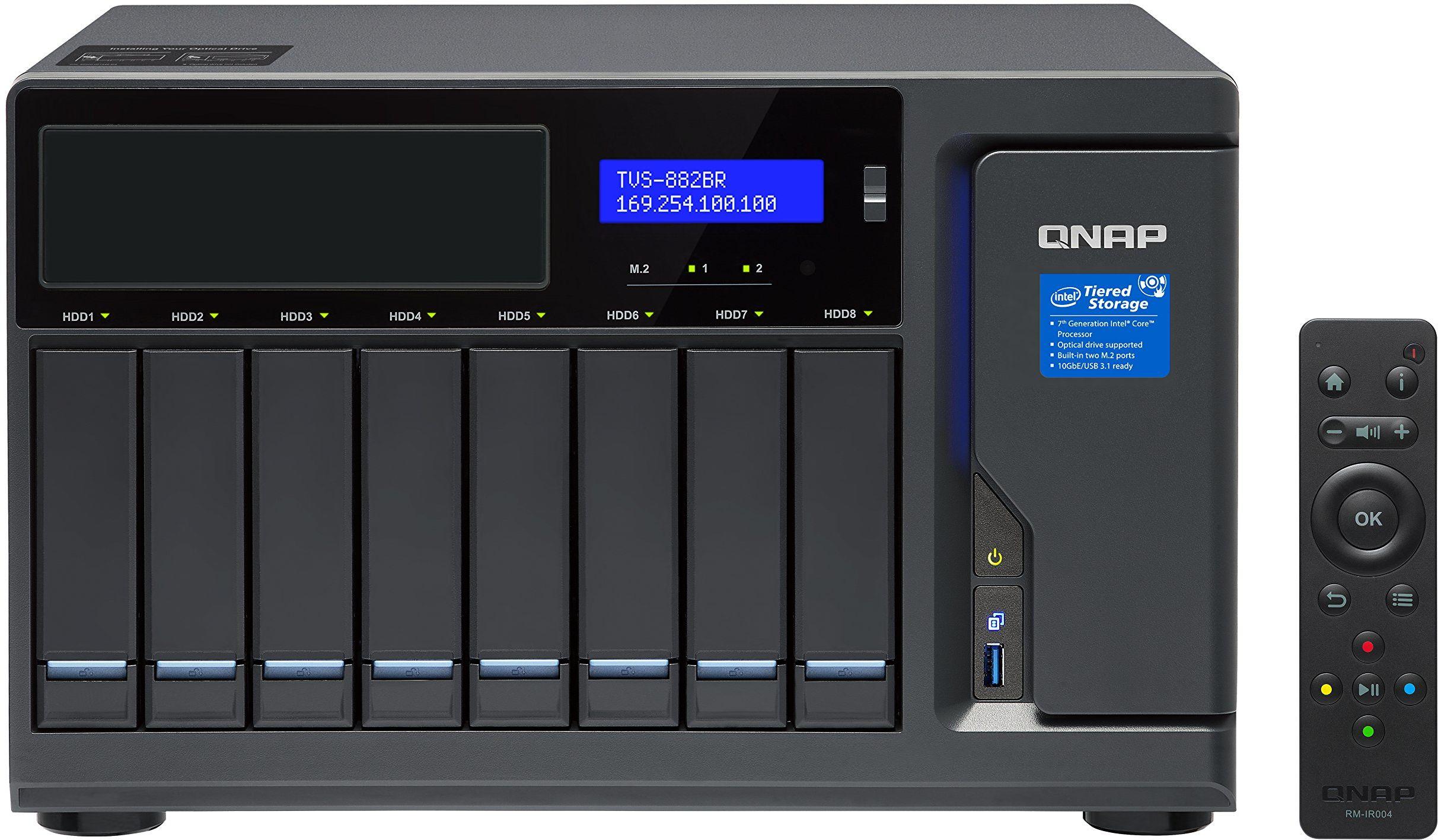 QNAP TVS-882BR-i5-16G; kopia zapasowa Blu-ray RDX NAS, odtwarzanie kopii zapasowych dysków, odtwarzanie wideo i udostępnianie plików.