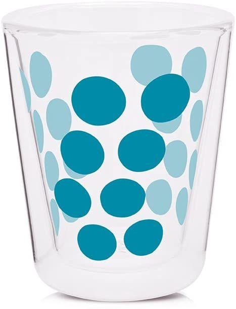 Zak Designs 1783-C420 Dot Dot podwójna ścianka szkło 20 cl, niebieski aqua