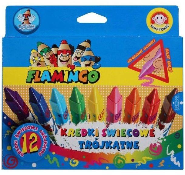 Kredki świecowe trójkątne 12 kolorów Flamingo 175048