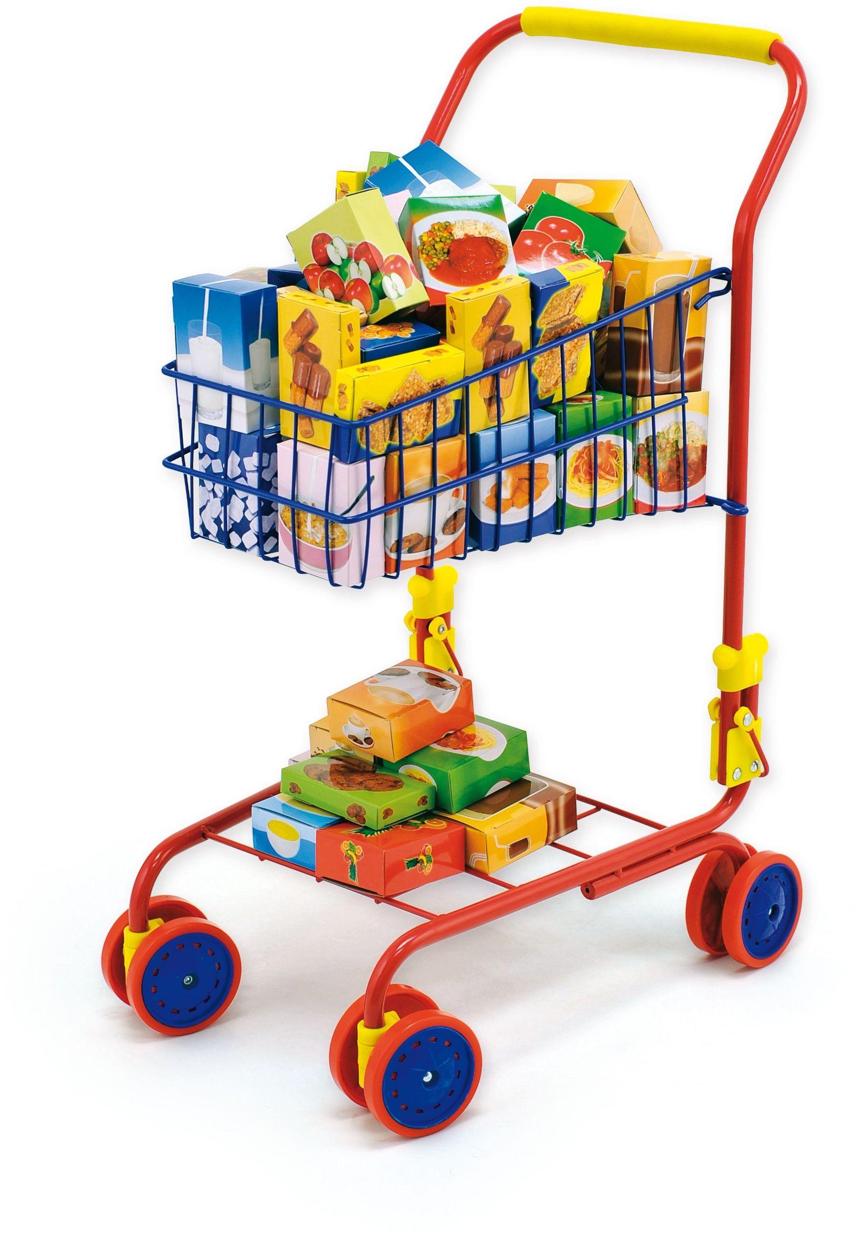 Bayer Design 75002AA zabawkowy wózek na zakupy, wbudowany fotelik dla lalek, akcesoria do sklepu, kolorowy/zawartość